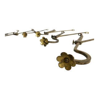 Brass Curtain Rod Holders Featuring Flower Motif, C. 1920s For Sale