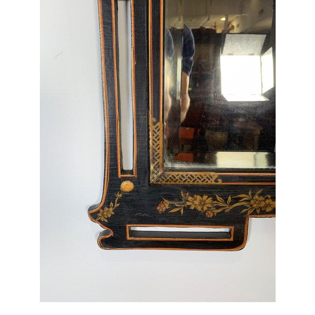 Glass 1950s Asian Style Decorative Chinoiserie Hand Painted Mirror For Sale - Image 7 of 11