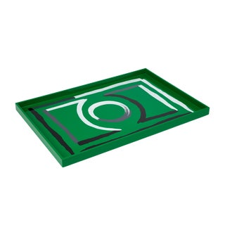 Luke Edward Hall Collection Large Etienne Tray in Green For Sale