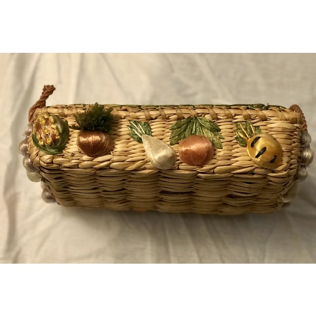 Boho Chic 20th Century Rustic Style Grass Basket For Sale - Image 3 of 8