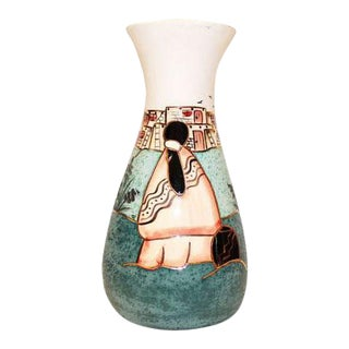 Vintage Southwestern Native American Clay Pottery Vase Signed Bj Gore San Jon For Sale