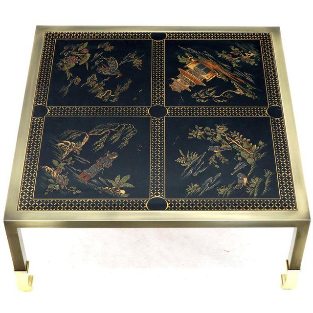 Black Brass and Gold Decorated Reverse Painted Glass Top Square Coffee Table For Sale - Image 8 of 13