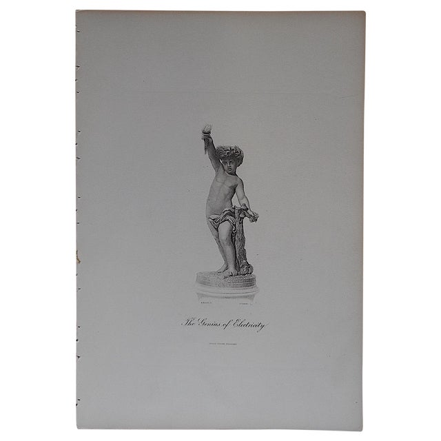 "Antique Engraving ""The Genius of Electricity"" For Sale"