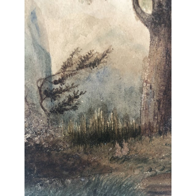 19th Century French Watercolor Landscape Painting of Artists Under a Tree by Pasquier 1834 For Sale - Image 4 of 8