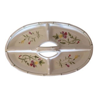 Vintage Majolica Relish Dish With Handle and Floral Design For Sale
