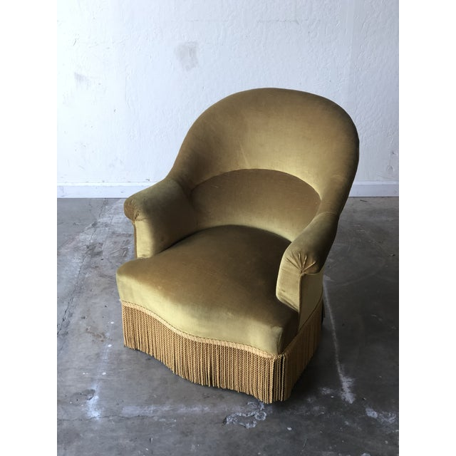 French Velvet Crapaud Chair For Sale - Image 3 of 7
