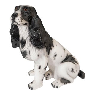 Mid-Century Italian Black and White Cocker Glazed Ceramic Spaniel Dog Sculpture For Sale