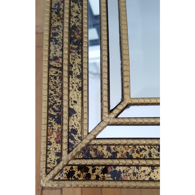 Mid-Century Faux Tortoise Gilt Mirror - Image 4 of 10
