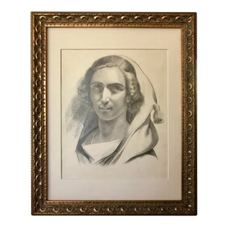 Antique Original French Drawing of a Woman 19th Century For Sale