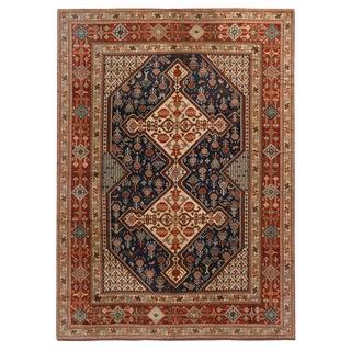 Antique Qasqhai Beige and Burgundy Geometric Floral Wool Rug - 8′1″ × 11′1″ For Sale