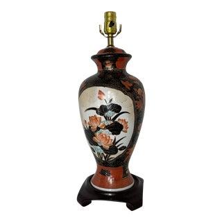 Vintage Hand Painted Japanese Imari Style Vase Lamp For Sale