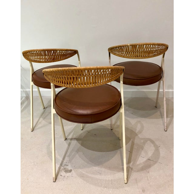 1960s 1960s Vintage Arthur Umanoff for Shaver Howard Painted Wrought Iron and Rattan Dining Chairs- Set of 3 For Sale - Image 5 of 13