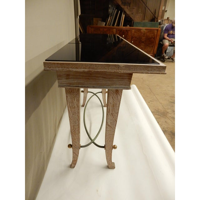 1930s French Art Deco Cerused Oak Console For Sale - Image 5 of 7