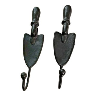 Andrea by Sadek Garden Spade Shovel Hat Coat Iron Wall Hooks - a Pair For Sale
