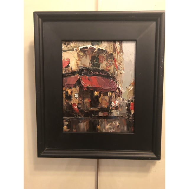 Black 1980s Store Front Street Scene Framed Oil on Canvas Painting For Sale - Image 8 of 8