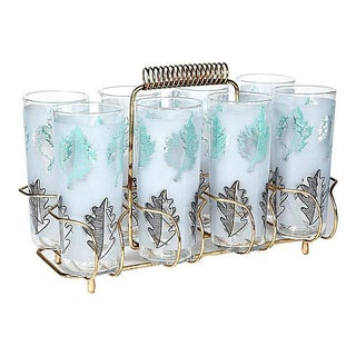 Beverage Set with Gilt Caddy - Set of 9