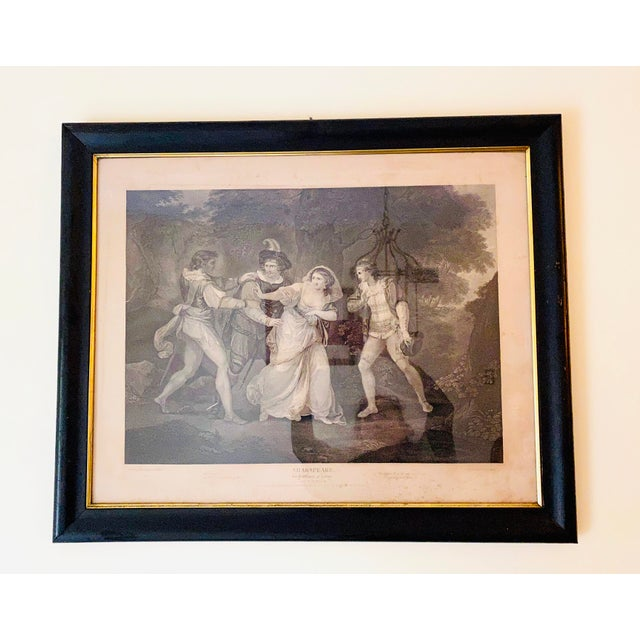 """An engraving from Shakespeare's """"Two Gentlemen Of Verona"""", Act V, Scene III. Framed in a black wood frame with a gold..."""