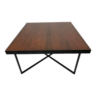 1960s Mid-Century Modern Teak and Iron X Base Side Table For Sale