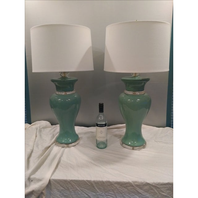 Aqua Colored Ceramic Lamps - A Pair - Image 4 of 8