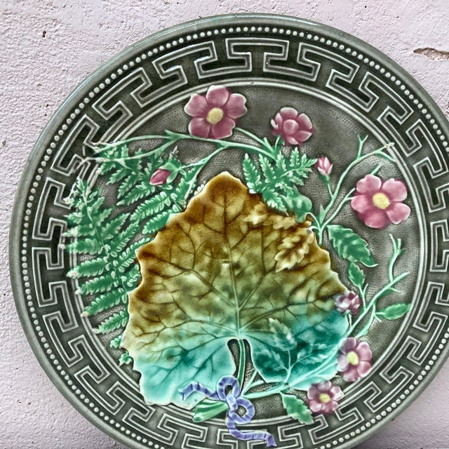 Shabby Chic 19th Majolica Leaves and Pink Flowers Plate Choisy Le Roi For Sale - Image 3 of 7