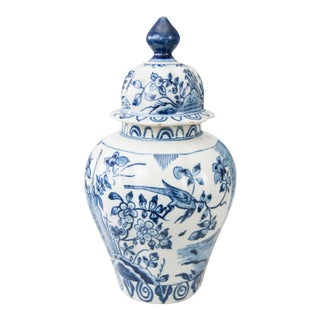 "Large Early Dutch Delft Chinoiserie Lidded 13"" Bird Vase For Sale"
