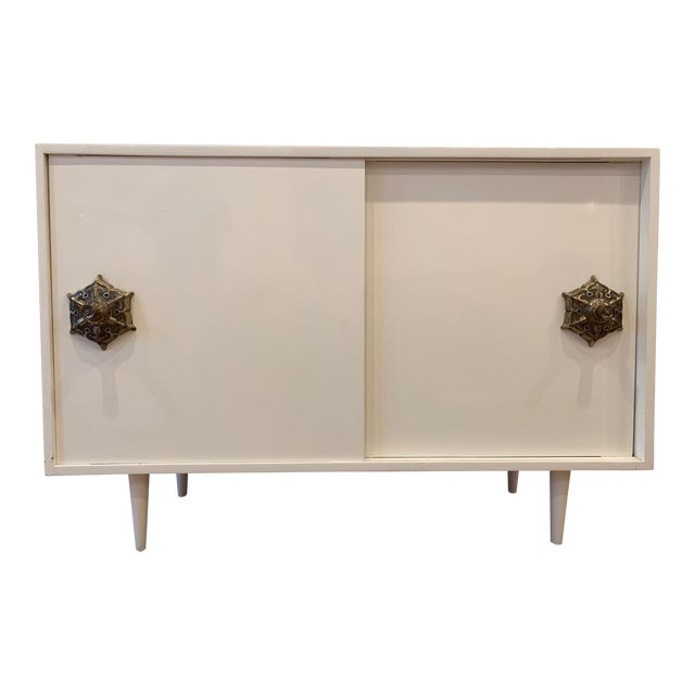 1950s Mid Century Modern Credenza With Detailed Pulls For Sale