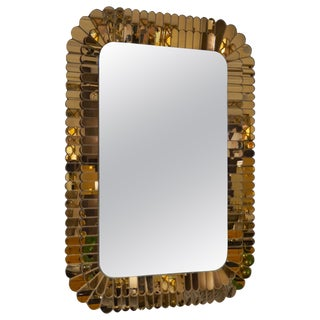 Contemporary Italian Scalloped Double Frame Silvered Bronze Murano Glass Mirror For Sale