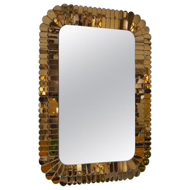 Contemporary Italian Scalloped Double Frame Silvered Bronze Murano Glass Mirror For Sale