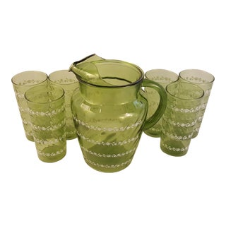 Vintage Green Glass With White Flower Pattern 7 Piece Pitcher Set For Sale