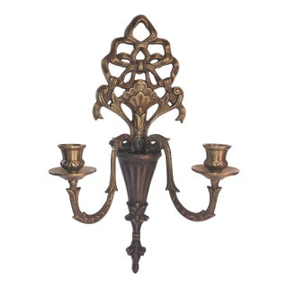 Victorian Bow and Ornate Brass Wall Sconce Candle Taper Holder Hollywood Glam Regency Vase For Sale