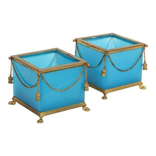 French Ormolu Mounted Turquoise Blue Opaline Glass Jardinières - a Pair For Sale