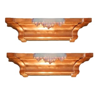 Pair of French Art Deco Copper and Opalescent Glass Icicle Sconces by Ezan For Sale