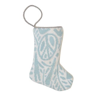 Peace Love and Joy in Blue Bauble Stocking by Sarah Watson