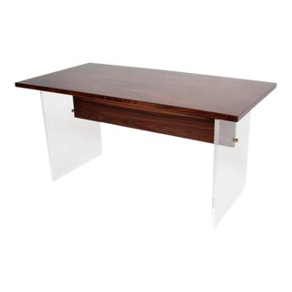 Mid-Century Modern Rosewood and Lucite Table For Sale