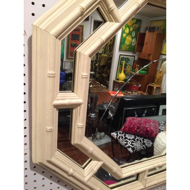 1970s Faux Bamboo Hollywood Regency Octagonal Mirror For Sale - Image 5 of 11