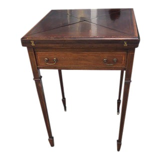 Antique Mahogany and Satinwood Edwardian Leather Inset and Brass Handles Game Table For Sale