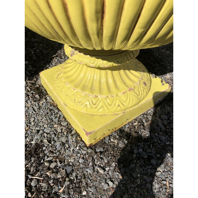 Yellow Bright Yellow Ceramic Vintage Handled Planter Jardinaires -A Pair For Sale - Image 8 of 12