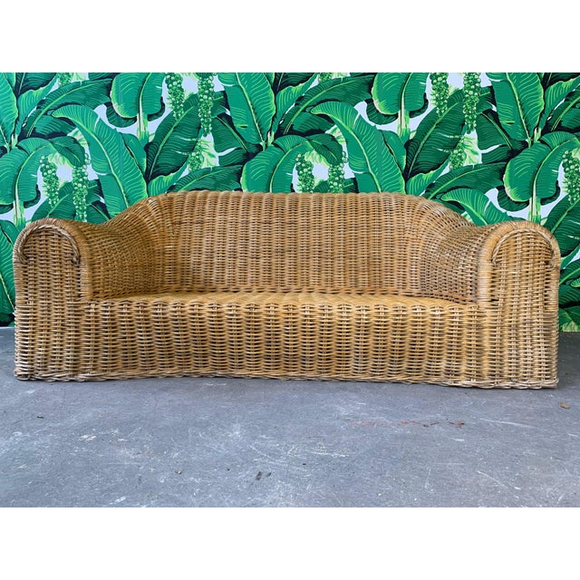 Contemporary Sculptural Wicker Sofa in the Manner of Michael Taylor For Sale - Image 3 of 11