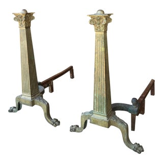 French Brass Fireplace Andirons - a Pair For Sale