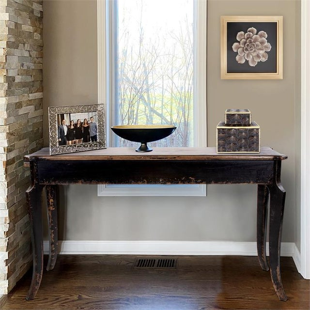 Kenneth Ludwig Chicago Distressed Black Farm House Console Table For Sale In Chicago - Image 6 of 8