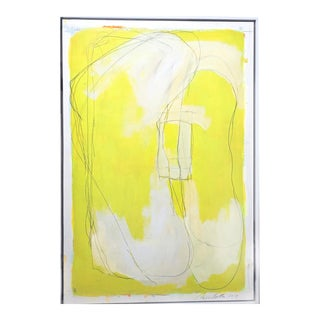 Framed Neon Yellow Contemporary Abstract Minimal Painting For Sale