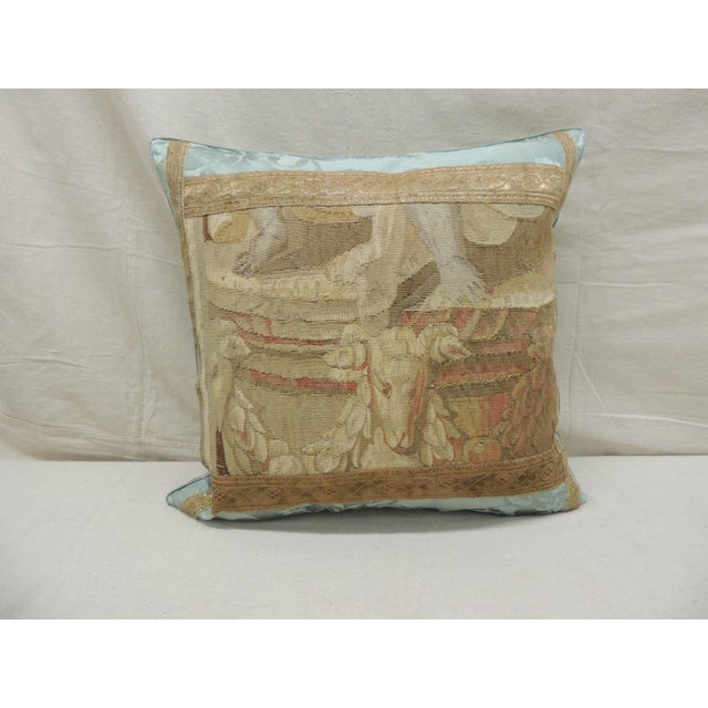 Gold Antique Aubusson Tapestry Square Decorative Pillow For Sale - Image 8 of 8