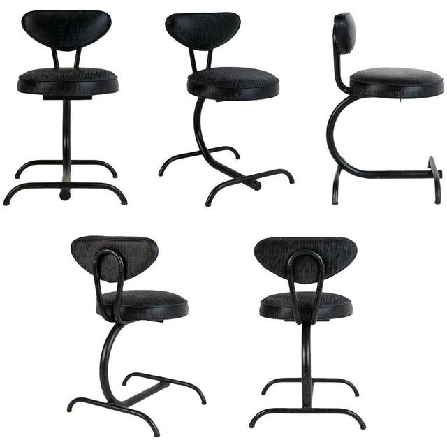 Cantilever Sharkskin Petite Chairs or Stools, Five, Circa 1960 For Sale - Image 11 of 11