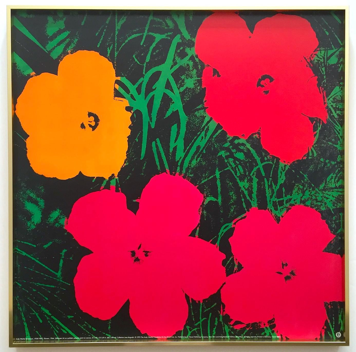 POP ART POSTER RED FLOWERS BY ANDY WARHOL FRENCH PRINTING ON HEAVY STOCK PAPER