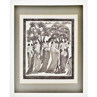 Vintage Framed Black & White Asian Woodblock Engraving Preview