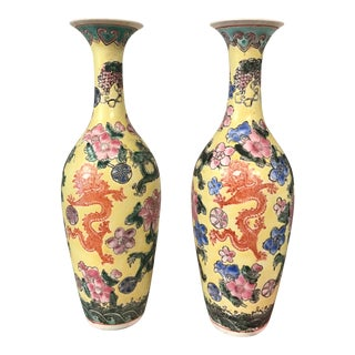 Chinoiserie Dragon Vases - a Pair
