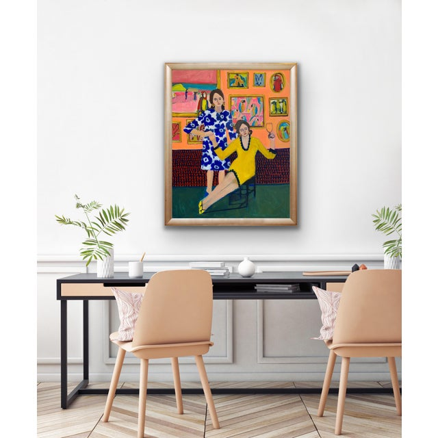 """Contemporary """"Parrots and Wine"""" Contemporary Figurative Interior Scene Acrylic Painting by Michelle Heimann For Sale - Image 3 of 3"""