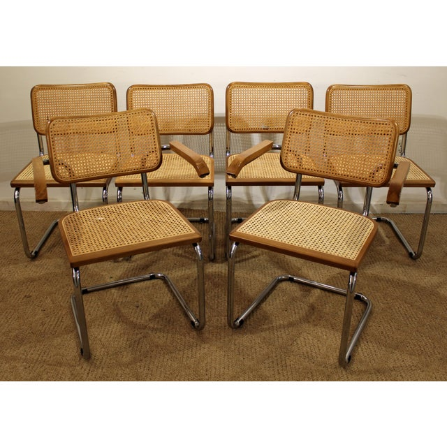 Mid-Century Danish Modern Marcel Breuer Style Caned Dining Chairs - Set of 6 - Image 10 of 10