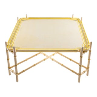 Mid-Century Baker Chinoiserie Faux Bamboo Coffee Table For Sale