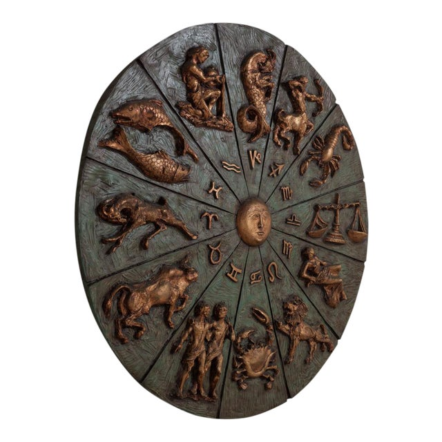 Patinated and Gilt Resin Zodiac Wall Sculpture - Image 1 of 4
